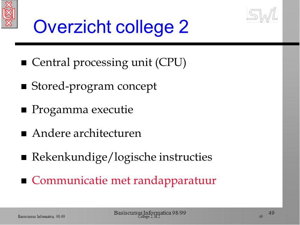 Basiscursus Informatica, 98-99 College 2, H 2 48 Basiscursus Informatica 98/9948 Shifts, Rotations n Richting n Circulair (rotatie) 1 0 1 0 1 0 1 1 - 1 0 1 0 1 0 1 (shift 1 naar rechts) 1 1 0 1 0 1 0 1 (roteer een naar rechts)
