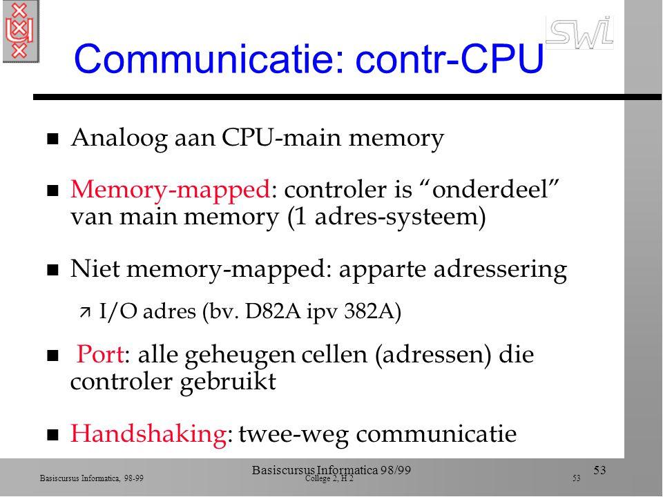 Basiscursus Informatica, 98-99 College 2, H 2 52 Basiscursus Informatica 98/9952 Controler n Soms op moederbord geprikt (kaart) n Converteert boodschappen tussen computer en randapparaat (vertaalslag) n Kan soms direct main memory lezen door bus --> Direct Memory Access (DMA) ä Von Neuman bottleneck n CPU kan controler vragen data te lezen en op bepaald adres tijdelijk op te slaan (buffer)