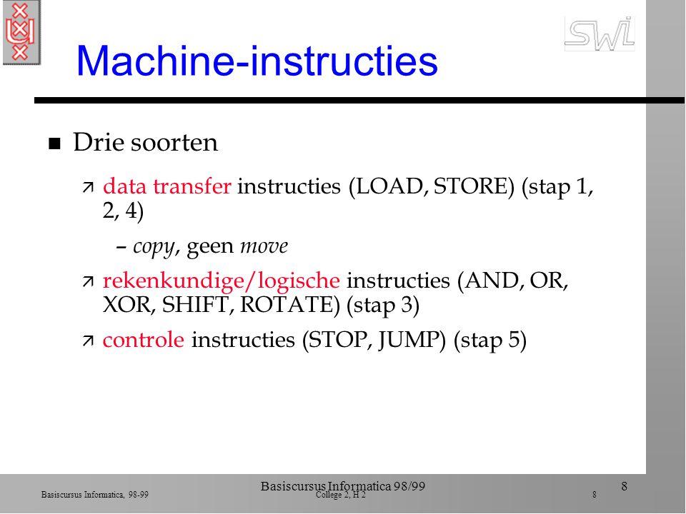 Basiscursus Informatica, 98-99 College 2, H 2 38 Basiscursus Informatica 98/9938 Voor- en nadelen n CISC ä voordeel: makkelijker te programmeren (macro's) ä nadelen: moelijker te bouwen, minder algemeen, overhead n RISC ä voordeel: simpeler te bouwen ä nadeel: moeilijker te programmeren (lager nivo machine-taal)