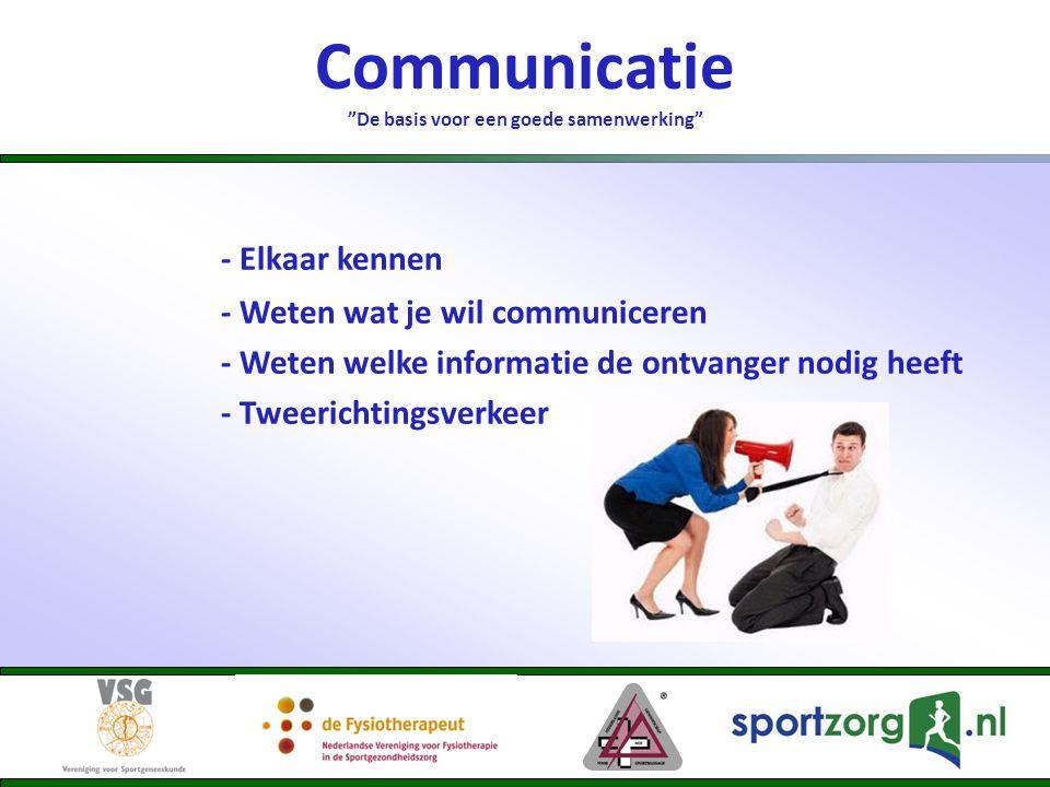 Communicatie De basis voor een goede samenwerking - Elkaar kennen - Weten wat je wil communiceren - Weten welke informatie de ontvanger nodig heeft - Tweerichtingsverkeer