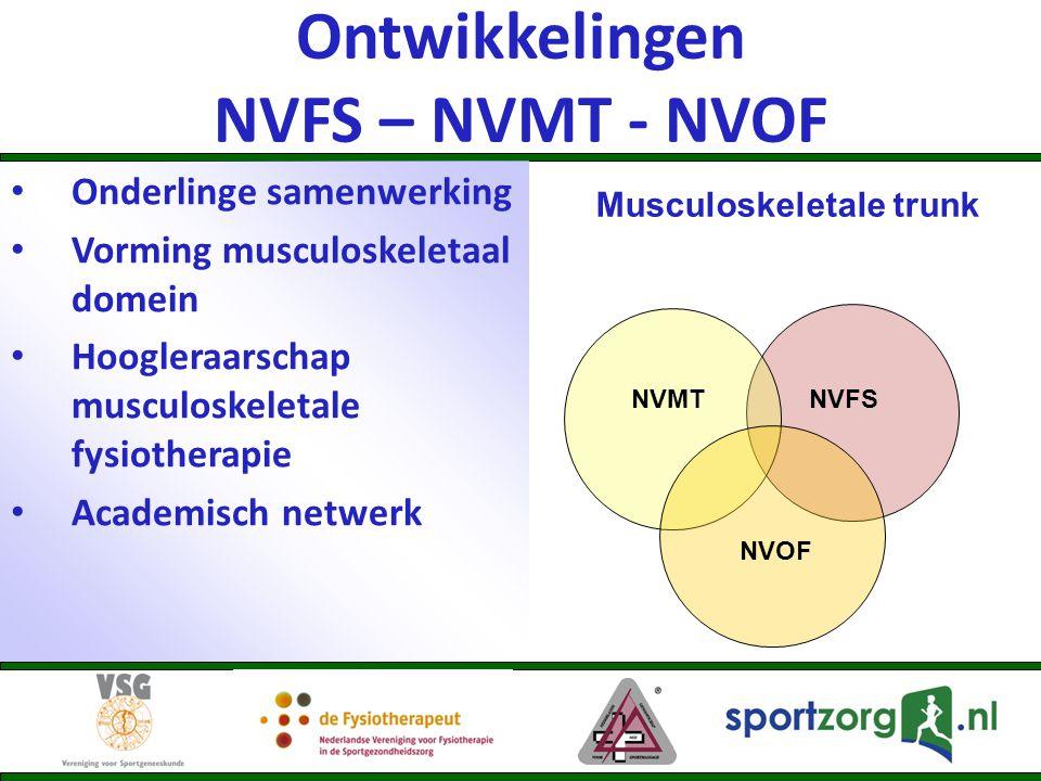 Ontwikkelingen NVFS – NVMT - NVOF Onderlinge samenwerking Vorming musculoskeletaal domein Hoogleraarschap musculoskeletale fysiotherapie Academisch ne