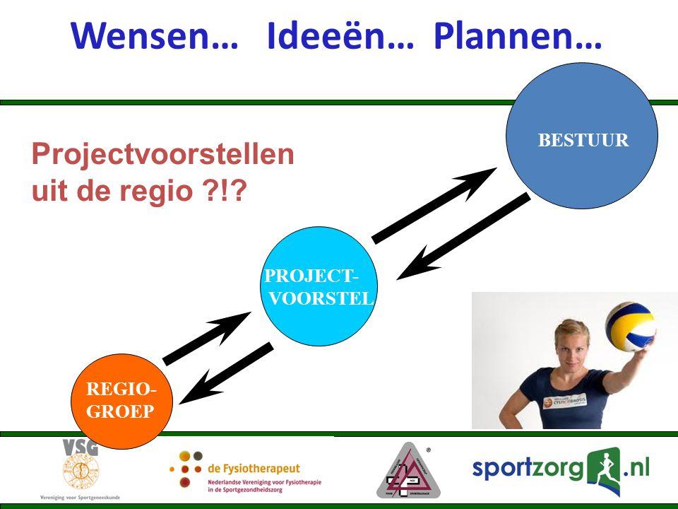 Wensen… Ideeën… Plannen… REGIO- GROEP BESTUUR PROJECT- VOORSTEL Projectvoorstellen uit de regio ?!?