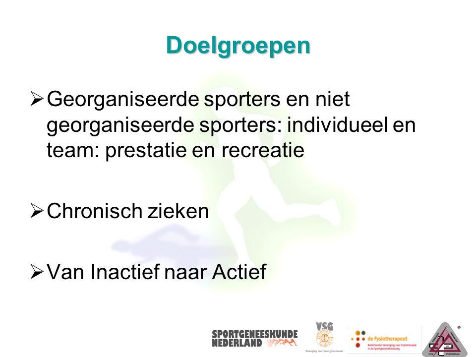 Doelgroepen  Georganiseerde sporters en niet georganiseerde sporters: individueel en team: prestatie en recreatie  Chronisch zieken  Van Inactief naar Actief