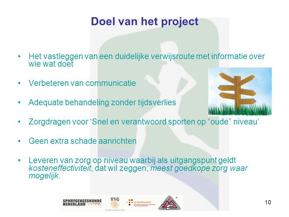 10 Doel van het project Het vastleggen van een duidelijke verwijsroute met informatie over wie wat doet Verbeteren van communicatie Adequate behandeli