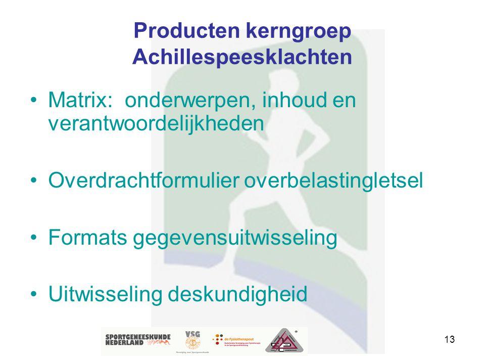 13 Producten kerngroep Achillespeesklachten Matrix: onderwerpen, inhoud en verantwoordelijkheden Overdrachtformulier overbelastingletsel Formats gegev