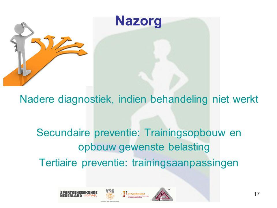 17 Nazorg Nadere diagnostiek, indien behandeling niet werkt Secundaire preventie: Trainingsopbouw en opbouw gewenste belasting Tertiaire preventie: tr