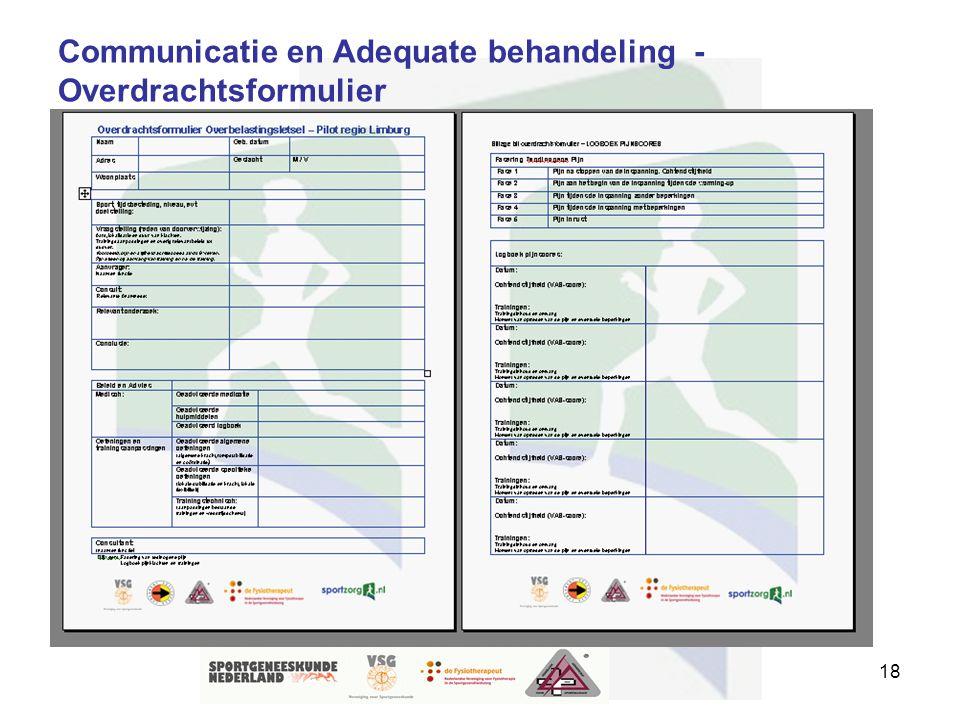 18 Communicatie en Adequate behandeling - Overdrachtsformulier