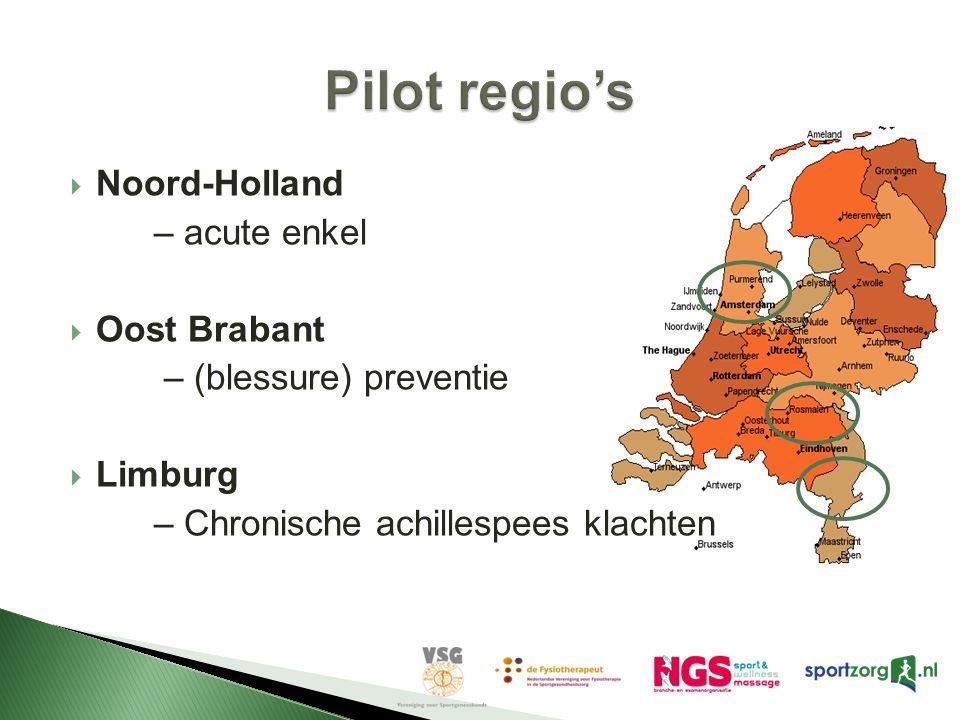  Noord-Holland – acute enkel  Oost Brabant – (blessure) preventie  Limburg – Chronische achillespees klachten