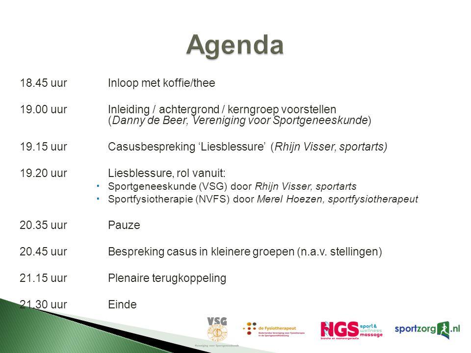 18.45 uurInloop met koffie/thee 19.00 uurInleiding / achtergrond / kerngroep voorstellen (Danny de Beer, Vereniging voor Sportgeneeskunde) 19.15 uurCa