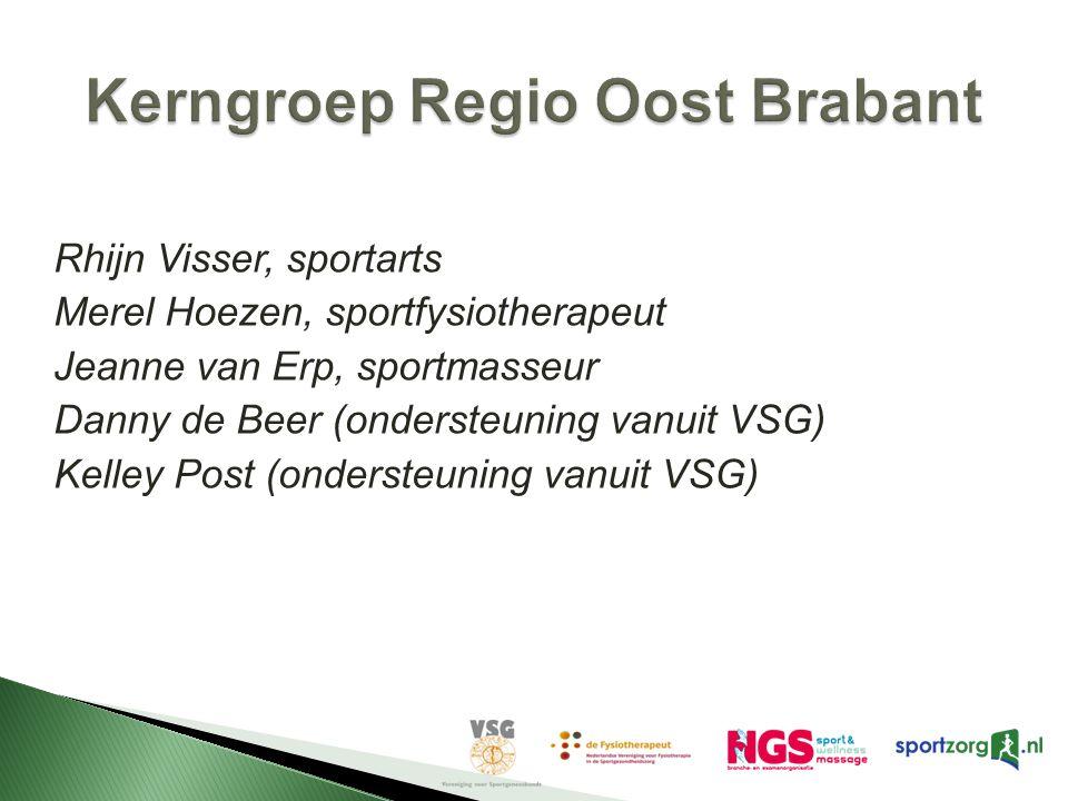 Rhijn Visser, sportarts Merel Hoezen, sportfysiotherapeut Jeanne van Erp, sportmasseur Danny de Beer (ondersteuning vanuit VSG) Kelley Post (ondersteu
