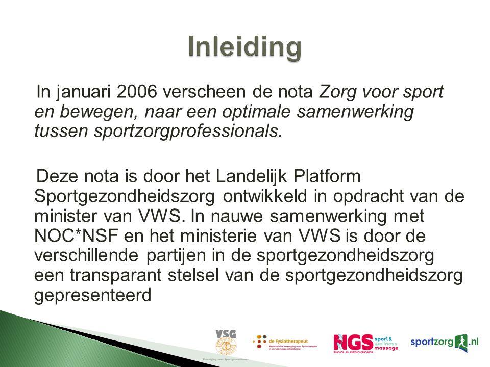 In januari 2006 verscheen de nota Zorg voor sport en bewegen, naar een optimale samenwerking tussen sportzorgprofessionals. Deze nota is door het Land