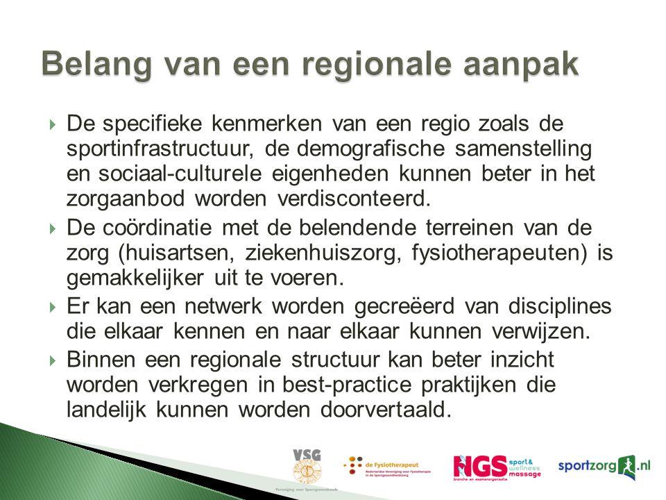 LPS rapport heeft geleid tot een 3-tal pilots (2008 - 2010)  De centrale doelstelling van het pilotproject is tweeledig: Het bevorderen van een doelmatige, doeltreffende en transparante samenwerking tussen de meest betrokken zorgprofessionals en (sport)organisaties en het vertalen van best-practices uit de regio naar het landelijke niveau .