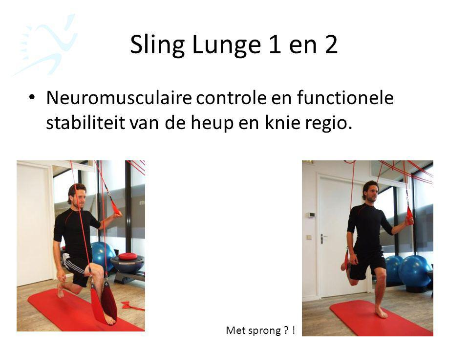 Sling Lunge 1 en 2 Neuromusculaire controle en functionele stabiliteit van de heup en knie regio. Met sprong ? !