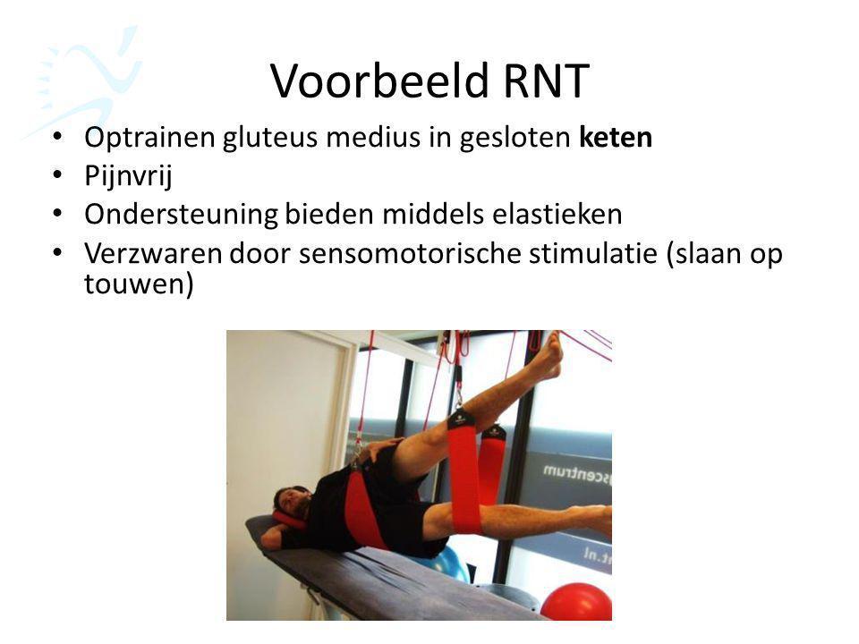 Voorbeeld RNT Optrainen gluteus medius in gesloten keten Pijnvrij Ondersteuning bieden middels elastieken Verzwaren door sensomotorische stimulatie (s