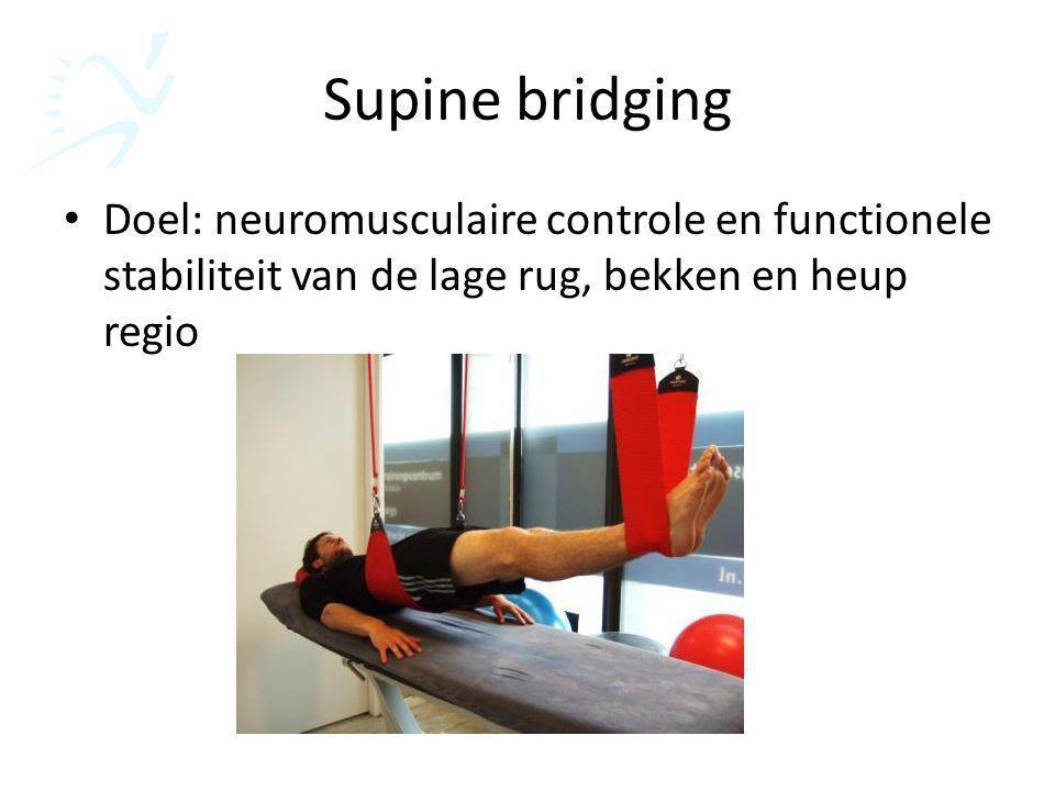 Supine bridging Doel: neuromusculaire controle en functionele stabiliteit van de lage rug, bekken en heup regio