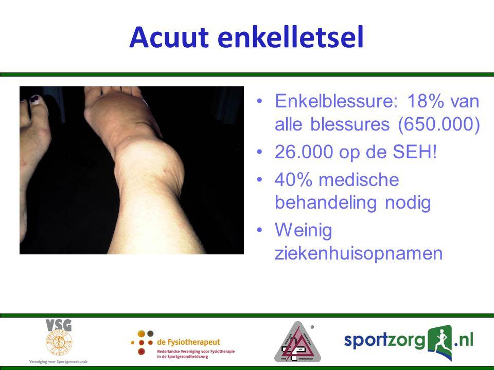 Enkelblessure: 18% van alle blessures (650.000) 26.000 op de SEH! 40% medische behandeling nodig Weinig ziekenhuisopnamen Acuut enkelletsel