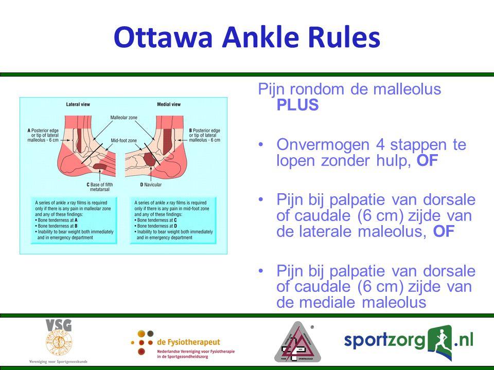 Pijn rondom de malleolus PLUS Onvermogen 4 stappen te lopen zonder hulp, OF Pijn bij palpatie van dorsale of caudale (6 cm) zijde van de laterale male