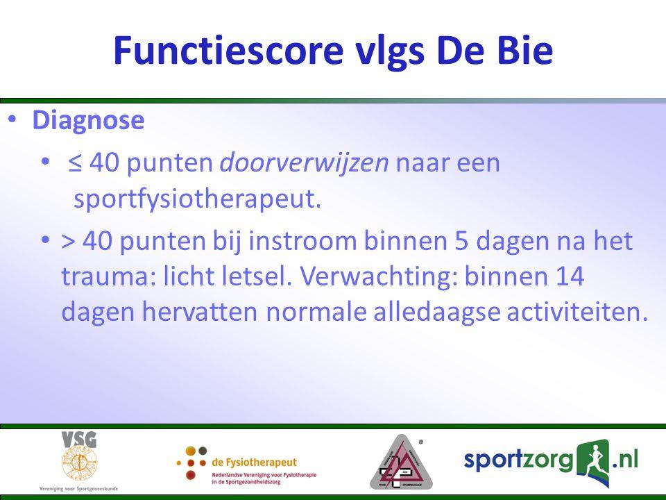 Diagnose ≤ 40 punten doorverwijzen naar een sportfysiotherapeut. > 40 punten bij instroom binnen 5 dagen na het trauma: licht letsel. Verwachting: bin
