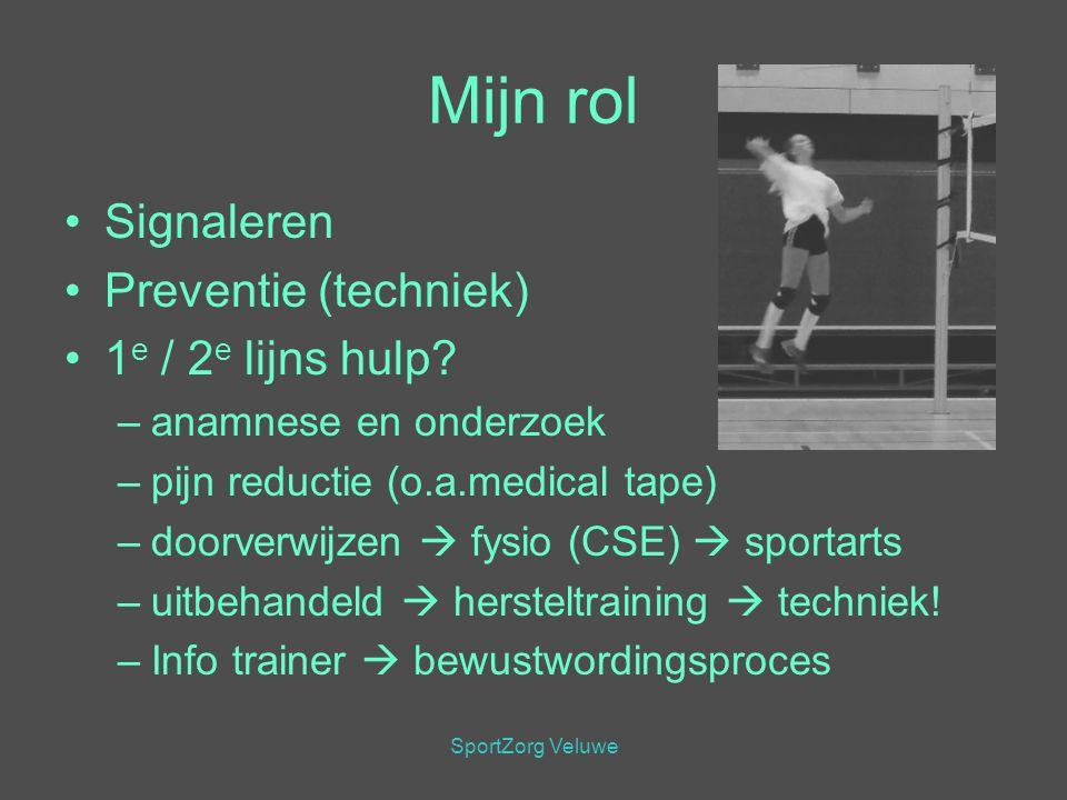 SportZorg Veluwe Mijn rol Signaleren Preventie (techniek) 1 e / 2 e lijns hulp? –anamnese en onderzoek –pijn reductie (o.a.medical tape) –doorverwijze