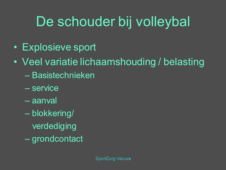 SportZorg Veluwe De schouder bij volleybal Explosieve sport Veel variatie lichaamshouding / belasting –Basistechnieken –service –aanval –blokkering/ v