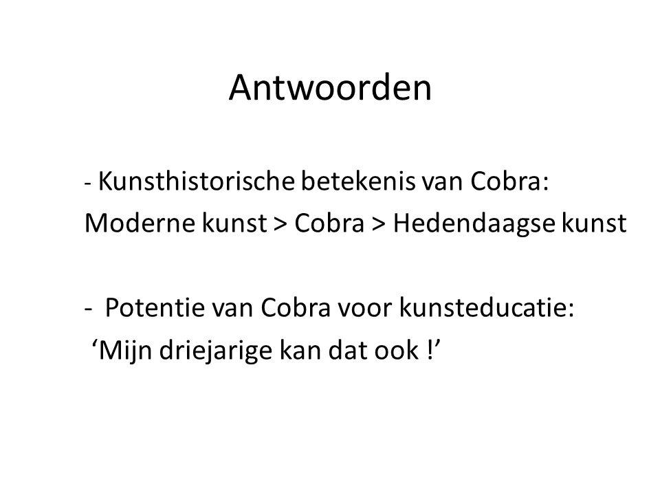 Antwoorden - Kunsthistorische betekenis van Cobra: Moderne kunst > Cobra > Hedendaagse kunst -Potentie van Cobra voor kunsteducatie: 'Mijn driejarige