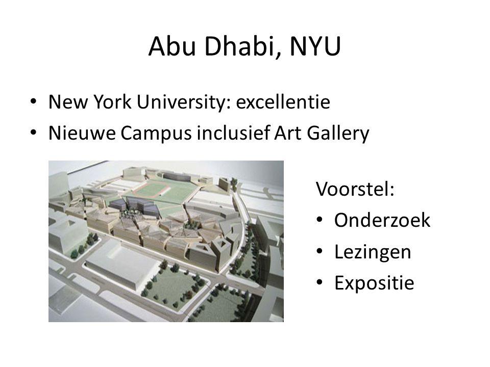 Abu Dhabi, NYU New York University: excellentie Nieuwe Campus inclusief Art Gallery Voorstel: Onderzoek Lezingen Expositie