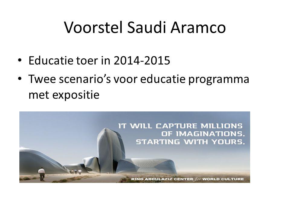 Voorstel Saudi Aramco Educatie toer in 2014-2015 Twee scenario's voor educatie programma met expositie