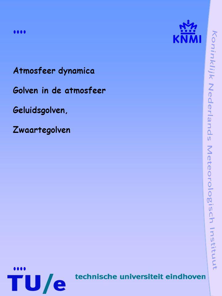 Golven in de atmosfeer Geluidsgolven, oscillatie mechanisme: samendrukbaarheid lucht Zwaartegolven, oscillatie mechanisme: stabiele verticale gelaagdheid lucht Planetaire golven, oscillatie mechanisme: stabiele balans tussen drukgradienten en Coriolis kracht