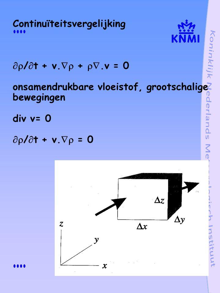 Energiebehoud Thermodynamische vergelijking  c v dT/dt + p .v = - .F + .(k  T) +  q q inwendige warmte toename F stralingsflux k  T thermische geleiding in potentiële temperatuur   c p T/  d  /dt = - .F + .(k  T) +  q potentiële temperatuur  = T(p 0 /p) 