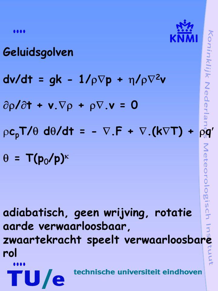 geluidsgolven, eendimensionaal beschouwd behoudswetten momentum du/dt + 1/  p/  x = 0 continuïteit d  /dt +  u/  x = 0 adiabatisch d/dt(p  -  ) = 0 herschrijven continuïteitsvergelijking 1/  pdp/dt +  u/  x = 0 d/dt =  /  t + u  /  x Storingsontwikkeling, achtergrond + kleine verstoring, lineariseren u = u 0 + u´ p = p 0 + p´  =  0 +  ´ p´  p 0  ´   0