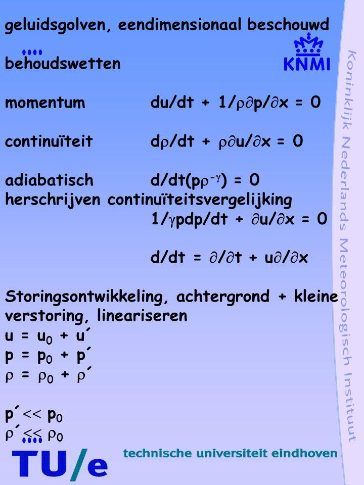 geluidsgolven golfvergelijking (  /  t + u 0  /  x)u´ + 1/  0  p´/  x = 0 (  /  t + u 0  /  x)p´ +  p 0  u´/  x = 0 u´ elimineren (  /  t + u 0  /  x) 2 p´ - (  p 0/  0 )  2 p´/  x 2 = 0 Tweede orde lineaire partiële differentiaalvergelijking