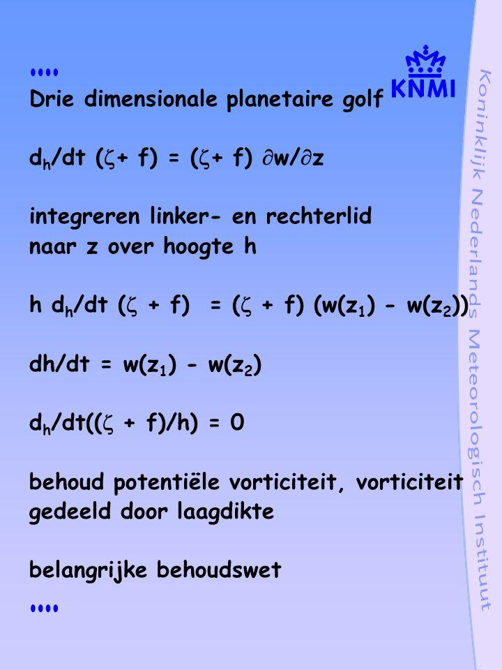 Drie dimensionale planetaire golf d h /dt (  + f) = (  + f)  w/  z integreren linker- en rechterlid naar z over hoogte h h d h /dt (  + f) = (  + f) (w(z 1 ) - w(z 2 )) dh/dt = w(z 1 ) - w(z 2 ) d h /dt((  + f)/h) = 0 behoud potentiële vorticiteit, vorticiteit gedeeld door laagdikte belangrijke behoudswet
