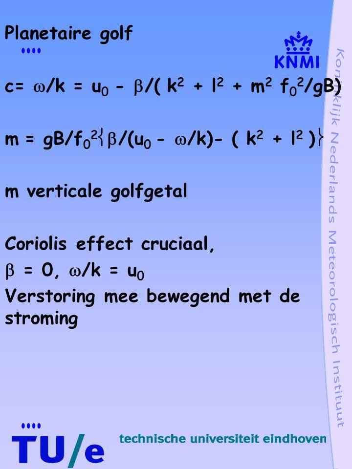 Planetaire golf c=  /k = u 0 -  /( k 2 + l 2 + m 2 f 0 2 /gB) m = gB/f 0 2  /(u 0 -  /k)- ( k 2 + l 2 )  m verticale golfgetal Coriolis effect cruciaal,  = 0,  /k = u 0 Verstoring mee bewegend met de stroming