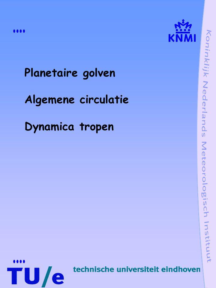 oplossing p= Pexp(-k  /w y 2 )expi(wt - kx + Nk/wz) u= Uexp(-k  /w y 2 )expi(wt - kx - mz) Kelvin golven, zonale wind en druk