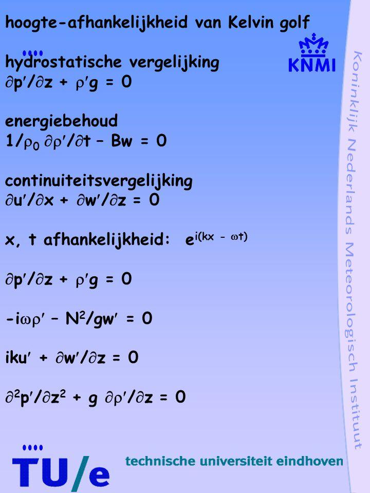 hoogte-afhankelijkheid van Kelvin golf hydrostatische vergelijking  p/  z +  g = 0 energiebehoud 1/  0  /  t – Bw = 0 continuiteitsvergelijking  u/  x +  w/  z = 0 x, t afhankelijkheid: e i(kx -  t)  p/  z +  g = 0 -i  – N 2 /gw = 0 iku +  w/  z = 0  2 p/  z 2 + g  /  z = 0
