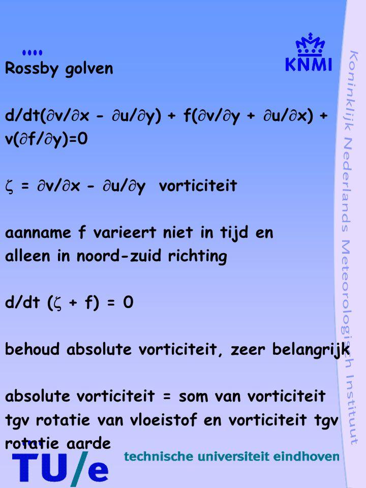 Instabiliteiten van zonale stroming inertiële instabiliteit u, geostrofe zonale snelheid alleen breedte afhankelijk en niet van hoogte luchtpakketje van y 0 naar y 0 + y, noord naar zuid, snelheid v bewegingsvergelijking (a) du/dt = fv (b) dv/dt = f(u - u') v = dy/dt integraal van (a) u(y 0 + y) - u(y 0 ) = fy dv/dt = d 2 y/dt 2 = f(u(y 0 + y) - fy - u') d 2 y/dt 2 = f(  u/  y - f)y