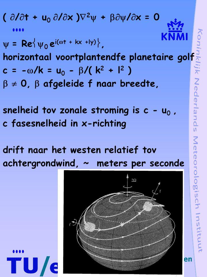 Planetaire golf in drie dimensies Vorticiteitsvergelijking in drie dimensies du/dt + 1/  p/  x - fv = 0 dv/dt + 1/  p/  y + fu = 0  =  v/  x -  u/  y, vorticiteit d/dt(  + f) = - (  + f)(  u/  x +  v/  y) - (  w/  x  v/  z -  w/  y  u/  z) + 1/  2 (  /  x  p/  y -  /  y  p/  x) laatste twee termen klein tov eerste term d h /dt(  + f) = - (  + f)(  u/  x +  v/  y) d h /dt =  /  t + u  /  x + v  /  y