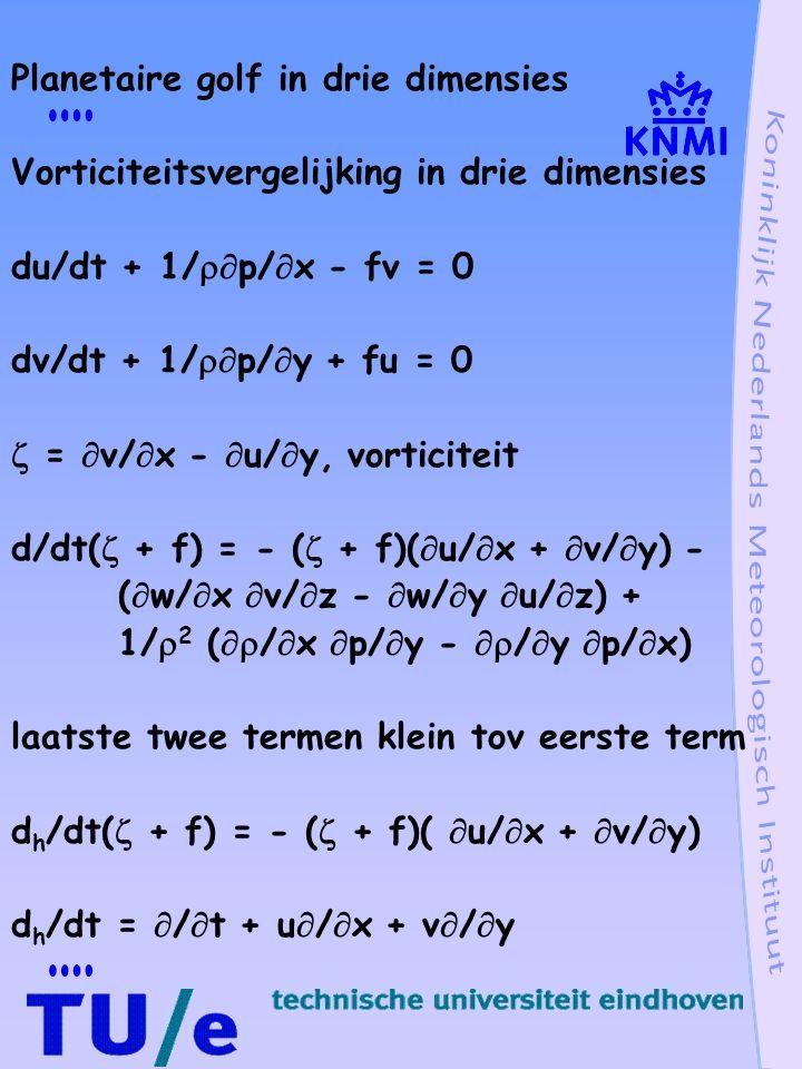 Thermodynamische vergelijking (  /  t +  )(  /  ) - Bw + Q = 0  is dichtheidsverstoring Q opwarming B verticale stabiliteit, B =  ln  /  z Momentum vergelijking Geen drukverschil in oost-west richting (  /  t + r)u - fv = 0 (  /  t + r)v + fu = - 1/   p/  y wrijving evenredig met snelheid, Rayleigh viscositeit, tijdschaal 1/r Hydrostatische vergelijking 1/  p/  z + g  /  = 0