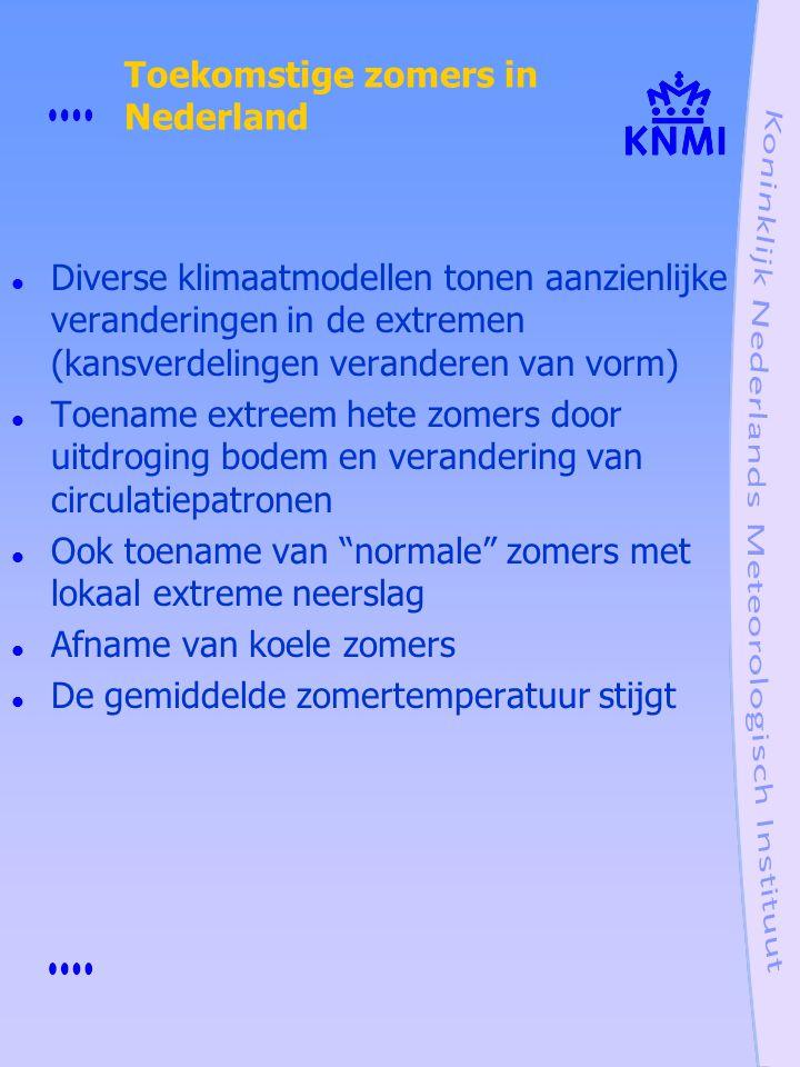 Toekomstige zomers in Nederland Diverse klimaatmodellen tonen aanzienlijke veranderingen in de extremen (kansverdelingen veranderen van vorm) Toename