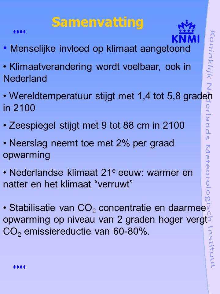 Menselijke invloed op klimaat aangetoond Klimaatverandering wordt voelbaar, ook in Nederland Wereldtemperatuur stijgt met 1,4 tot 5,8 graden in 2100 Z