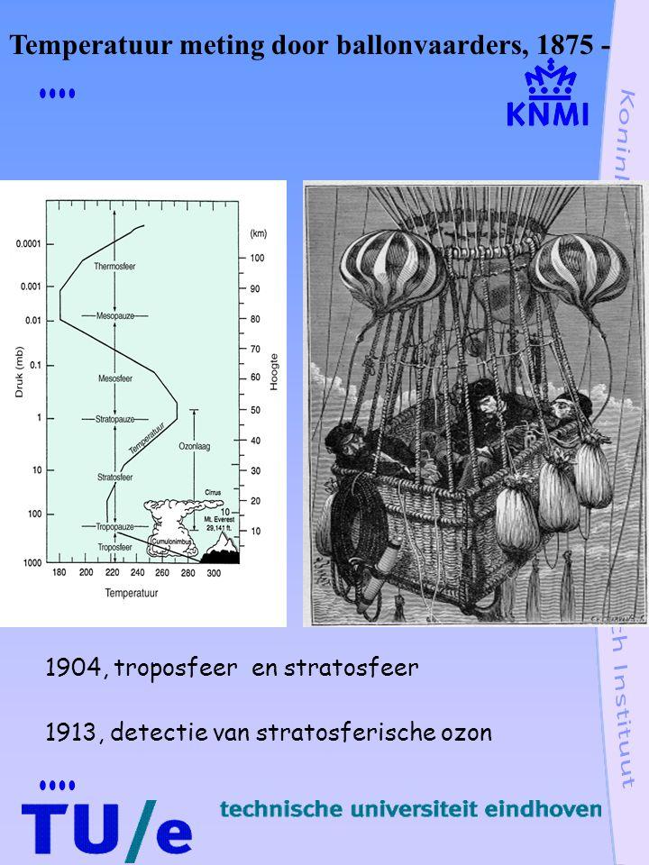 1904, troposfeer en stratosfeer 1913, detectie van stratosferische ozon Temperatuur meting door ballonvaarders, 1875 -