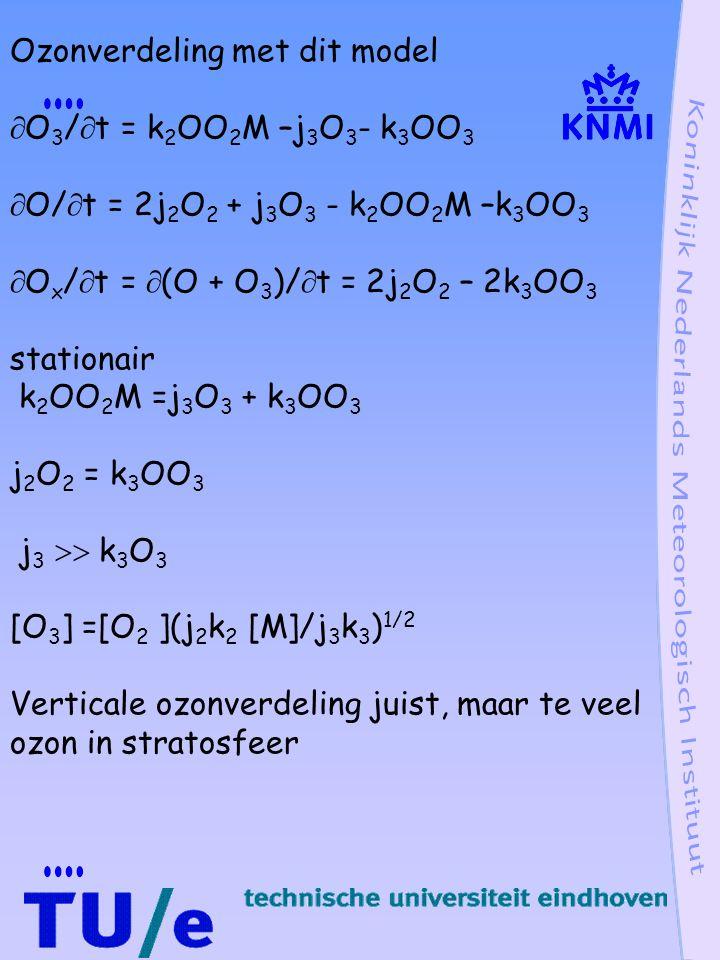 Ozonverdeling met dit model  O 3 /  t = k 2 OO 2 M –j 3 O 3 - k 3 OO 3  O/  t = 2j 2 O 2 + j 3 O 3 - k 2 OO 2 M –k 3 OO 3  O x /  t =  (O + O 3 )/  t = 2j 2 O 2 – 2k 3 OO 3 stationair k 2 OO 2 M =j 3 O 3 + k 3 OO 3 j 2 O 2 = k 3 OO 3 j 3  k 3 O 3 [O 3 ] =[O 2 ](j 2 k 2 [M]/j 3 k 3 ) 1/2 Verticale ozonverdeling juist, maar te veel ozon in stratosfeer