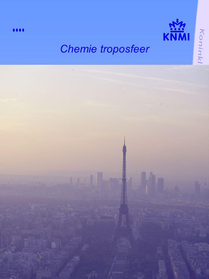 NO primaire vervuiler NO 2 verdwijnt in nacht via HNO 3 NO 2 niet gevormd in nacht door geringe ozon overdag vervuiling en ozonvorming