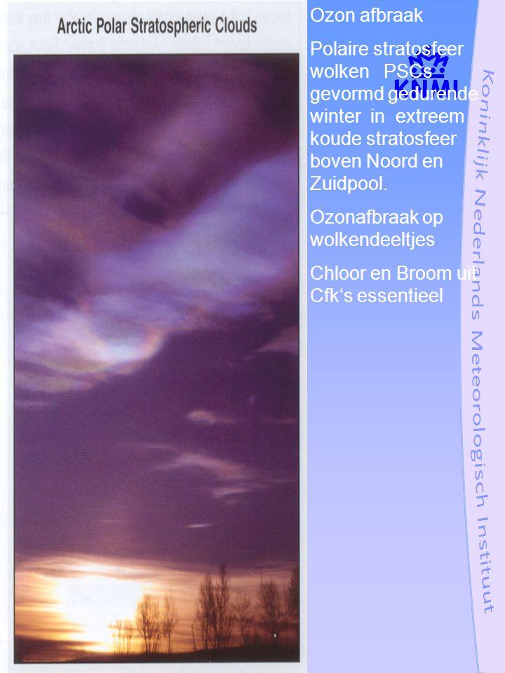 Ozon afbraak Polaire stratosfeer wolken PSCs gevormd gedurende winter in extreem koude stratosfeer boven Noord en Zuidpool.