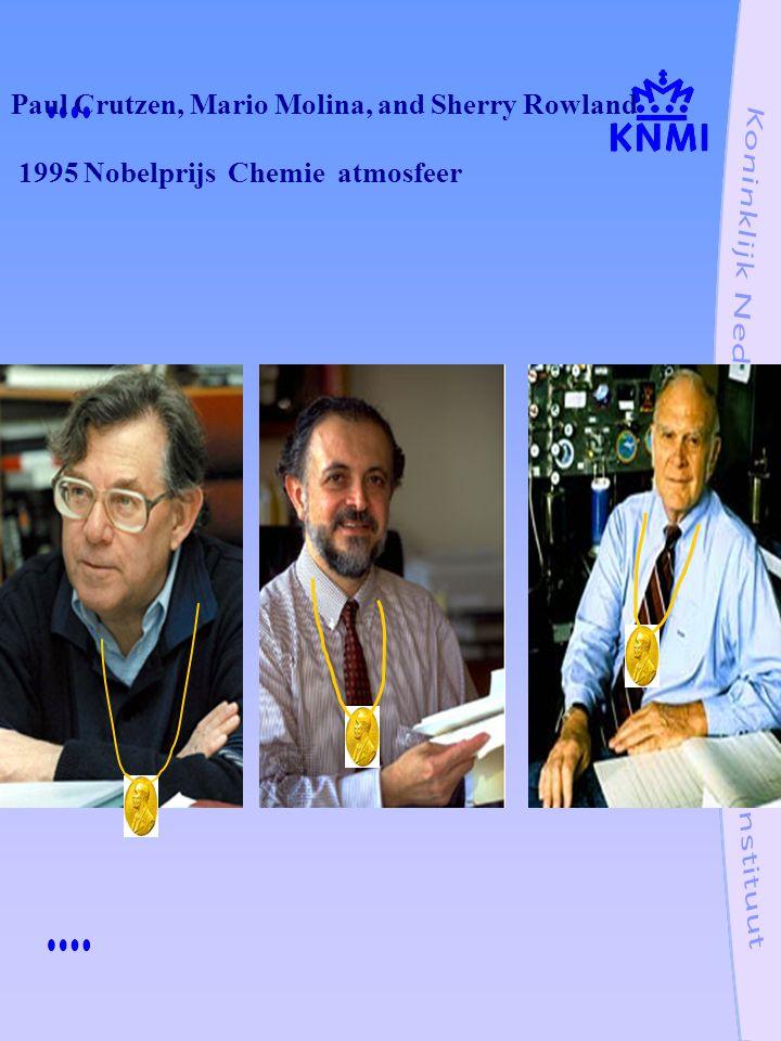 Paul Crutzen, Mario Molina, and Sherry Rowland 1995 Nobelprijs Chemie atmosfeer