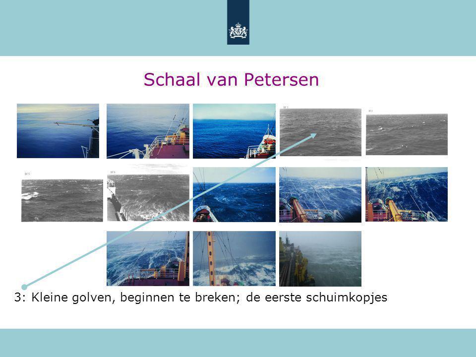 Schaal van Petersen 3: Kleine golven, beginnen te breken; de eerste schuimkopjes