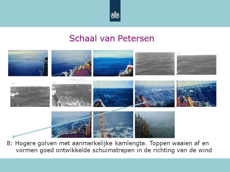 Schaal van Petersen 8: Hogere golven met aanmerkelijke kamlengte.