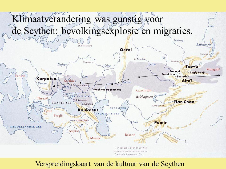 Verspreidingskaart van de kultuur van de Scythen Klimaatverandering was gunstig voor de Scythen: bevolkingsexplosie en migraties.