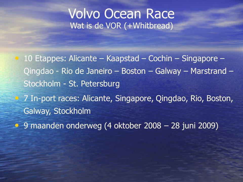 Volvo Ocean Race Wie doen er mee Gestart met 8 boten: Ericsson 3 (SWE) Ericsson 4 (SWE) Puma Ocean Racing (USA) Telefonica Blue (ESP) Telefonica Black (ESP) Green Dragon (IRL) Team Delta Lloyd (NED) Team Russia (RUS)