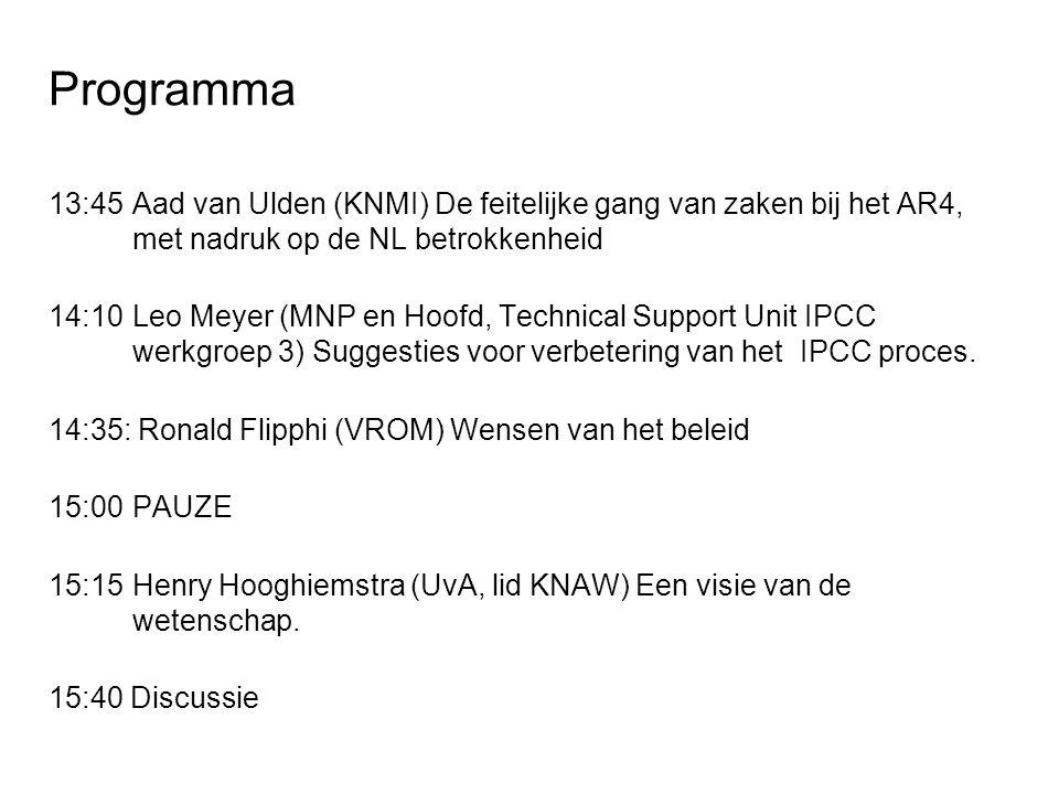 Programma 13:45Aad van Ulden (KNMI) De feitelijke gang van zaken bij het AR4, met nadruk op de NL betrokkenheid 14:10Leo Meyer (MNP en Hoofd, Technical Support Unit IPCC werkgroep 3) Suggesties voor verbetering van het IPCC proces.